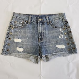 London Jean Shorts Size 4 Distressed Gommet Detail